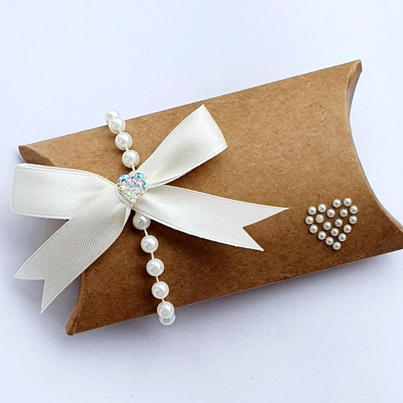 Kraft Pillow Box Favours Pearl Anniversary Rustic Wedding Party Keepsake (Qty 10)