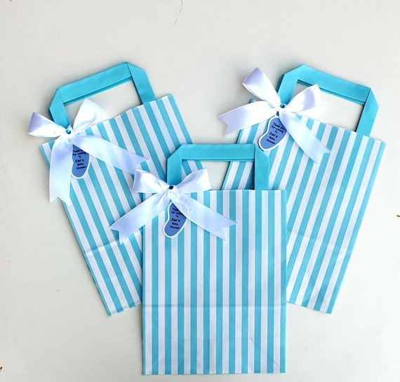 Baby Shower Favour Bags Blue and White Candy Stripe Personalised Tag Gender Reveal Party Baby Boy (Qty 1)