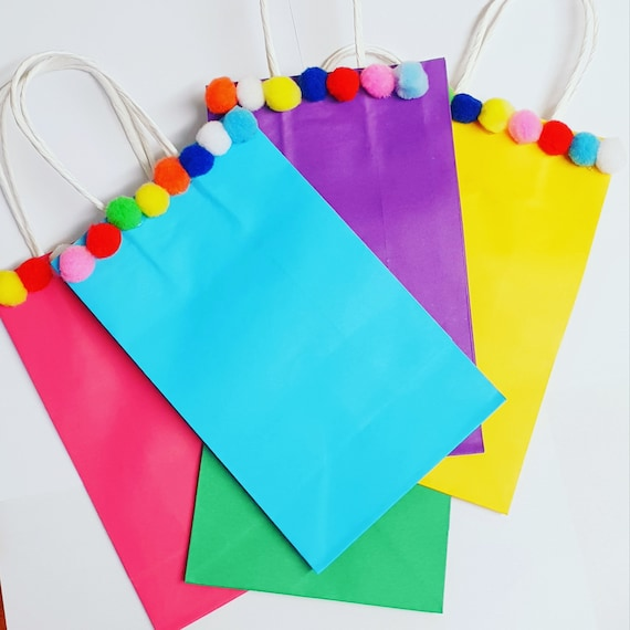Kids Party Bags Pom Pom Favour Bags Gift Bags Treat Bags Sleep Over Bags (Qty 5)