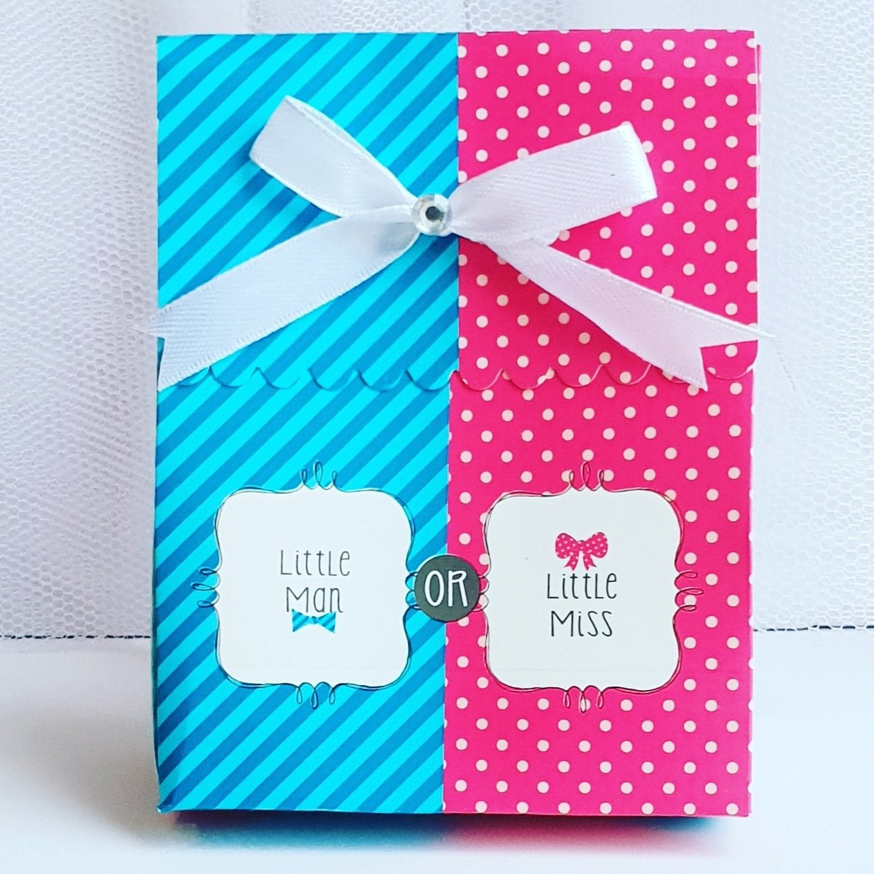 REVEAL LITTLE MAN LITTLE MISS BOW OR BOWTIE BABY SHOWER FAVOR BAGS WITH RIBBON