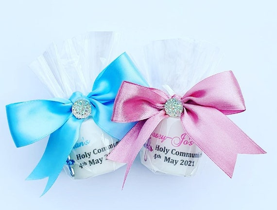 First Holy Communion Personalised Candle Favour Religious Candle Keepsake (Qty 1)