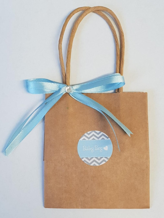 Mini Kraft Brown Favour Bags Baby Shower Gender Reveal Welcome Bags (Qty 10)