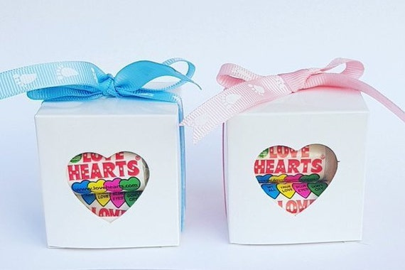 Baby Shower Favours Love Hearts Prefilled Cube box Gender Reveal (Qty 1)
