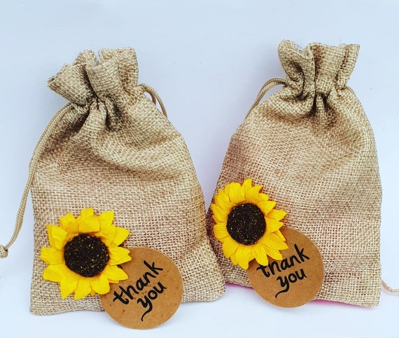 10 Hessian Favour Bags with Sunflower Rustic Wedding Burlap Weddings Party