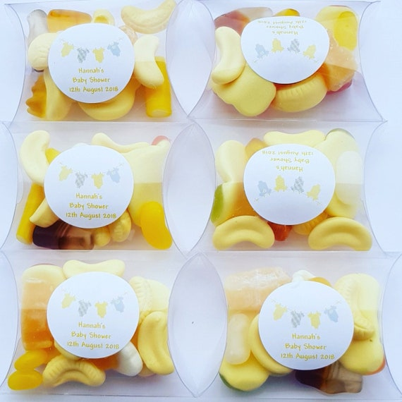Baby Shower Prefilled Pillow Box Sweet Favours. Yellow Favours Gender Reveal (Qty 1)