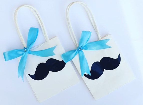 Mini Baby Shower Favour Bags with Moustache Little Man Gift Bags Gender Reveal  Baby Boy (Qty 10)