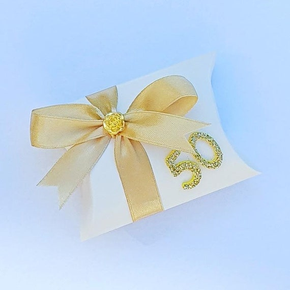 Golden Wedding Anniversary 50th Birthday Pillow Box Favours (Qty 10)