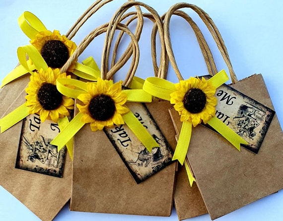Brown Kraft  Favour Bags with Sunflower Baby Shower Weddings Party Gift Bags (Qty 12)