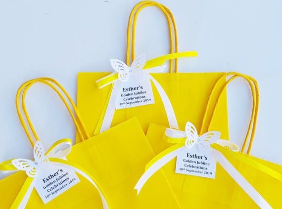 Yellow Favours Bags Golden Anniversary Butterfy Themed Party Gift Bags Personalised Favours