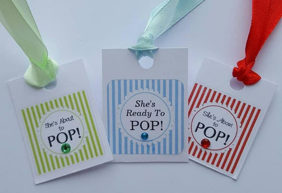 Ready to Pop Baby Shower Favour Tags Gender Reveal Party (Qty 10)