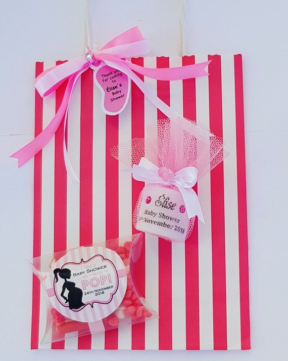Baby shower Prefilled Favour Bag with Personalised Candle and Sweets Gender Reveal