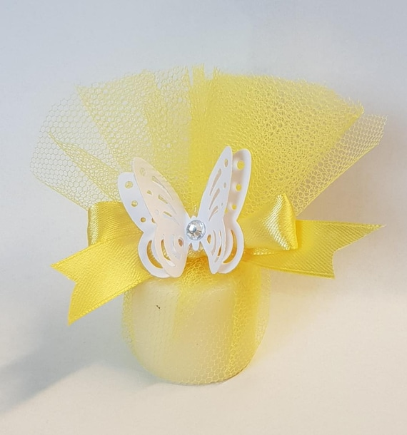 5 Yellow  Scented Candles  Baby Shower Wedding Favours with Butterfly Gender Reveal
