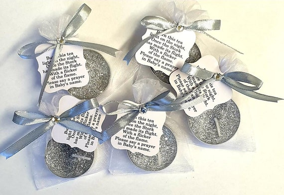 Silver or Gold Glitter Tealight Candle Favours  Baby Shower  Christening  Poem Tag (1)