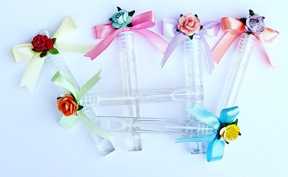 Bubble Wands Wedding Baby Shower Party Decor Meadow Flowers (Qty 20)