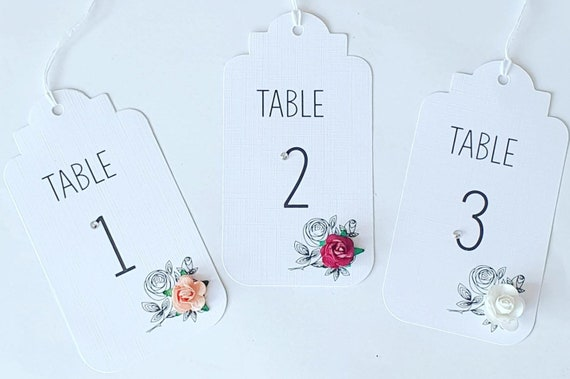 Wedding Table Numbers Place Setting Floral Luggage Tags Party Decor (Qty 12)