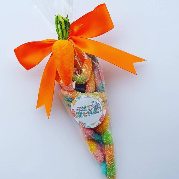 Easter Sweet Cones Fizzy Worms Sour Sweets Childrens Party Favours Treat Lockdown Wedding (QTY5)