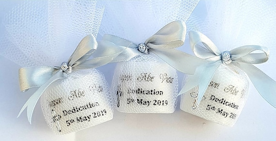 Dedication Naming Candle  wrapped in tulle Personalised Candle Favour ideas Favours (QTY 1)