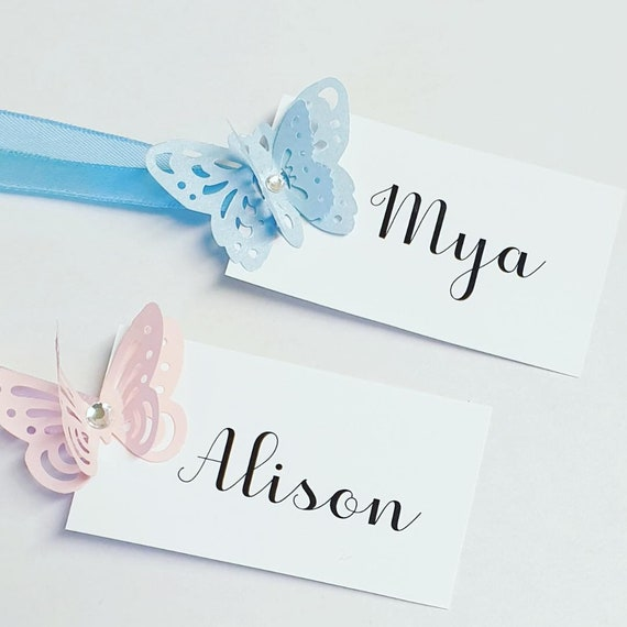 Butterfly Themed Favour Gift Tags Personalised Bridesmaid Wedding Birthday Party Baby Shower Bridal Hens (Qty 1)