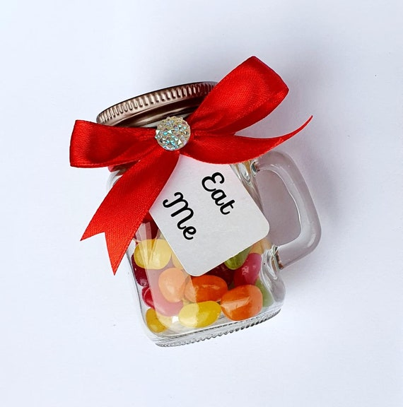 Mini Glass Mason Jar filled with Sweets Eat Me Tag Baby Shower Wedding Party Favours (Qty 10)
