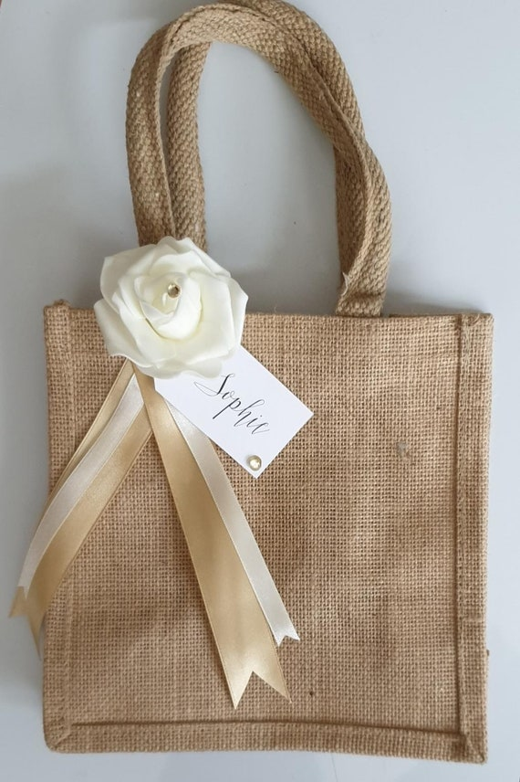 Jute Hessian Bags Burlap Bridesmaid Thank You Keepsake Personalised Tag (QTY 1)