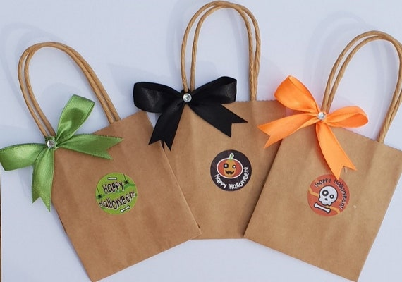 Halloween Party Bags Trick or Treat Mini Favours (qty 10) Brown Kraft