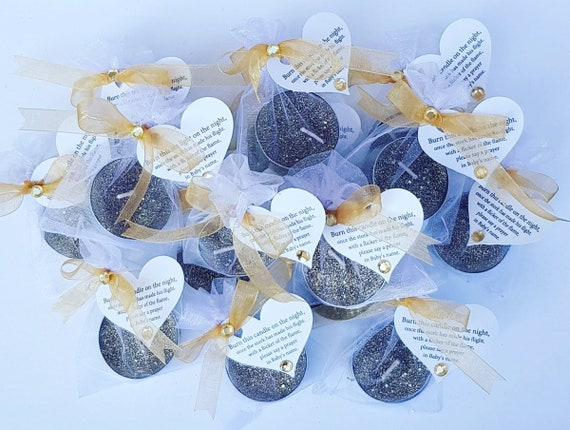 Silver or Gold Glitter Tealight Favours  Baby Shower Favours  Christening Favours Poem Tag