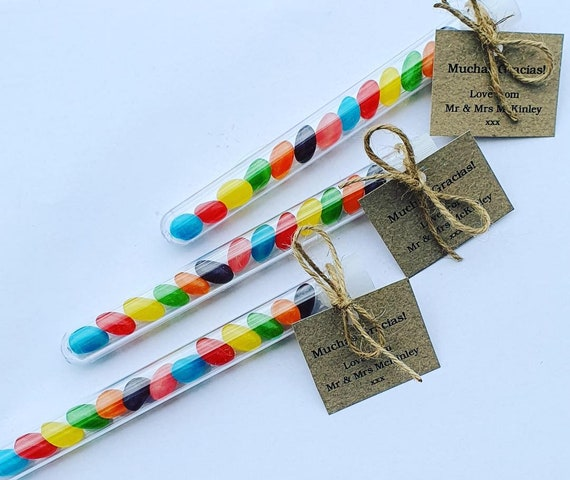 Jelly Bean Wands Test Tube Shots Prefilled Party Favours Birthday Wedding Baby Shower (Qty 10)
