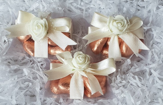 Pillow Box Favours Luxury Belgian Chocolate Hearts Wedding Baby Shower Birthday Favours (Qty 1)