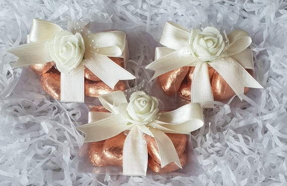 10 X Pillow Box Favours Rose Gold Luxury Belgian Chocolate Hearts Wedding Baby Shower Birthday Favours