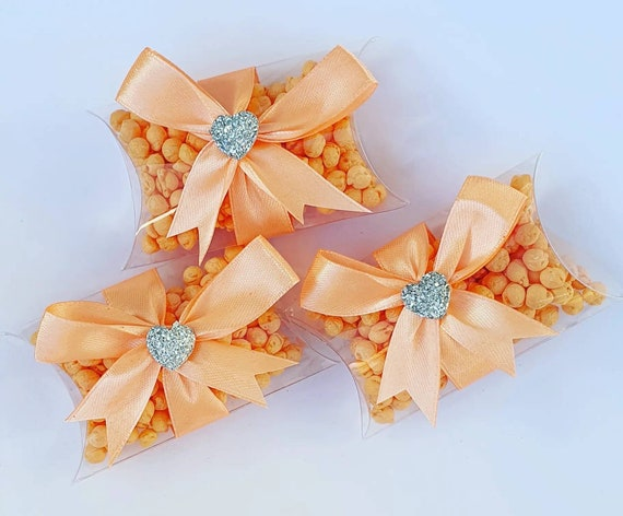 Mini Pillow Box Favours Peach Baby Shower Wedding Sweets Millions (qty 3)