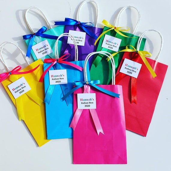 Hen Party Favour Bags Rainbow Bride to Be Bachelorette Party Personalised Favour Bags Team Bride Henfest (QTY 1)