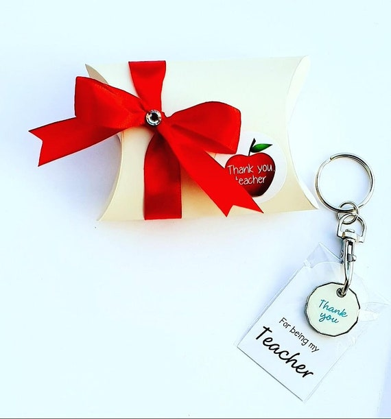 Thank You Teacher Gift Pillow Box Trolley Coin Keyring Favours