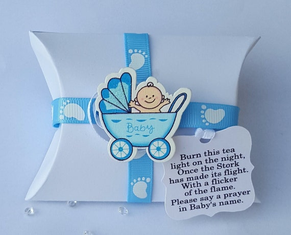Baby Shower Favours Pillow Box Gender Reveal  Scented Tealight Candle Keepsake (Qty 10)