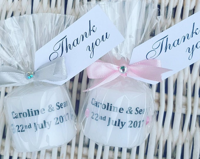Wedding candle favours. All colours available. Party. Table decoration. Personalised candles.