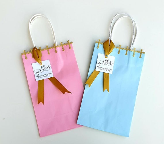 Baptism Favour Bags Christening Holy Communion Gift Bags Pink or Blue Party (Qty 1)