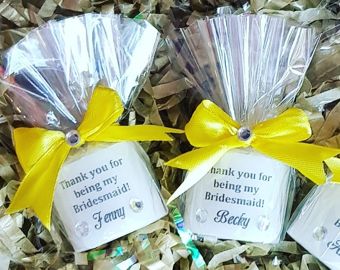 Thank you for being my bridesmaid maid of honour personalised candle favour