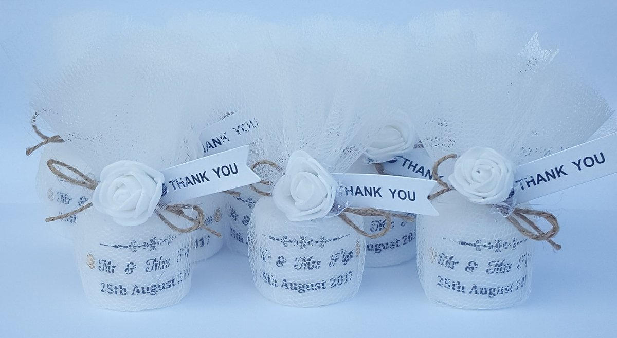 Rustic Shabby Chic Personalised Wedding Candle Favours Candles In