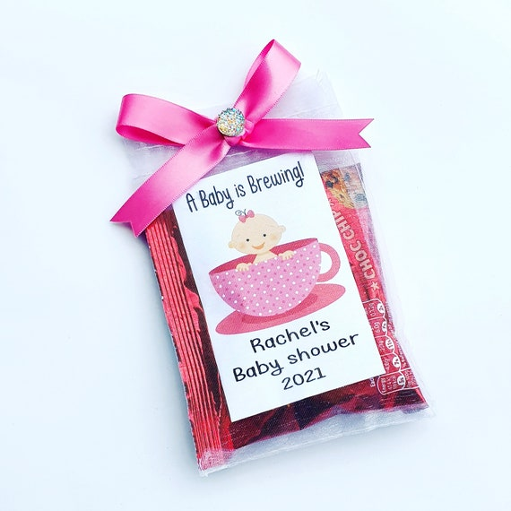 A Baby is Brewing Baby Shower Afternoon Tea Favours Biscuits Gender Reveal Personalised Letter Box Gift (qty 10)