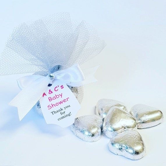 Silver Belgian Chocolate Hearts Baby Shower Favours Gender Reveal Personalised Tag Prefilled  (Qty 1)