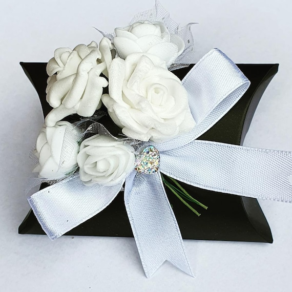 Black Pillow Box Favours Black Tie Event Weddings Party Luxury (Qty 10)