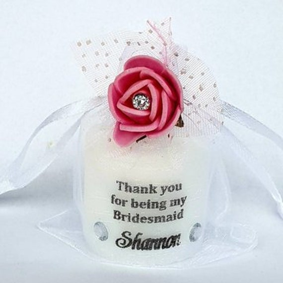 Bridesmaid Thank You Candle Keepsake in Organza Bag Wedding Favours