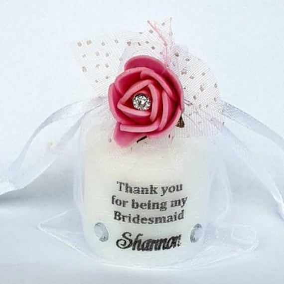 Bridesmaid Thank You Personalised Candle Keepsake in Organza Bag Wedding Favours (Qty 1)
