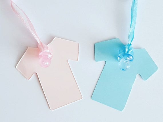 20 X Baby Shower Gender Reveal Tags Favour Tags Baby Vest Onsie