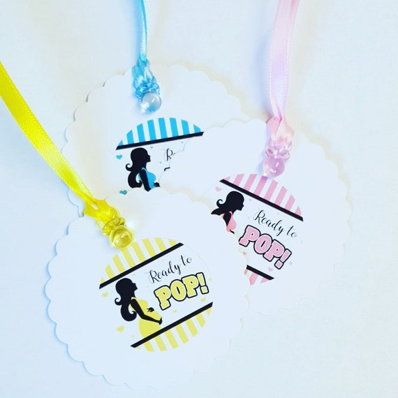 Baby Shower Favour Tags Ready to Pop Gender Reveal (Qty 10)