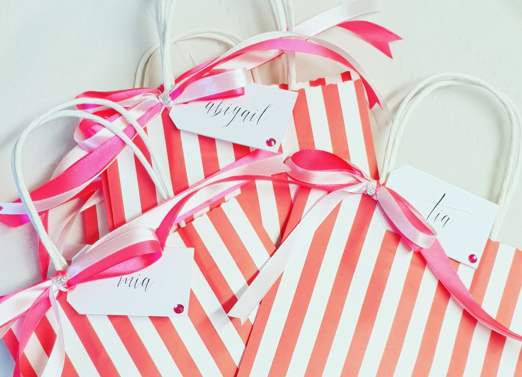 451f1191515b Childrens Candy Striped Party Bags Favour Bags with tissue paper ...