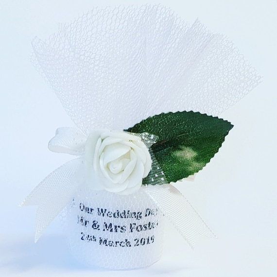 Wedding Candle Favours Personalised Keepsake Gift Bridal (Qty 1)