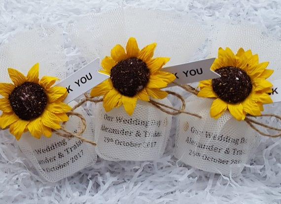 Sunflower Wedding Favours Personalised Candle Vintage Theme Rustic Wedding Candle Keepsake (Qty 1)