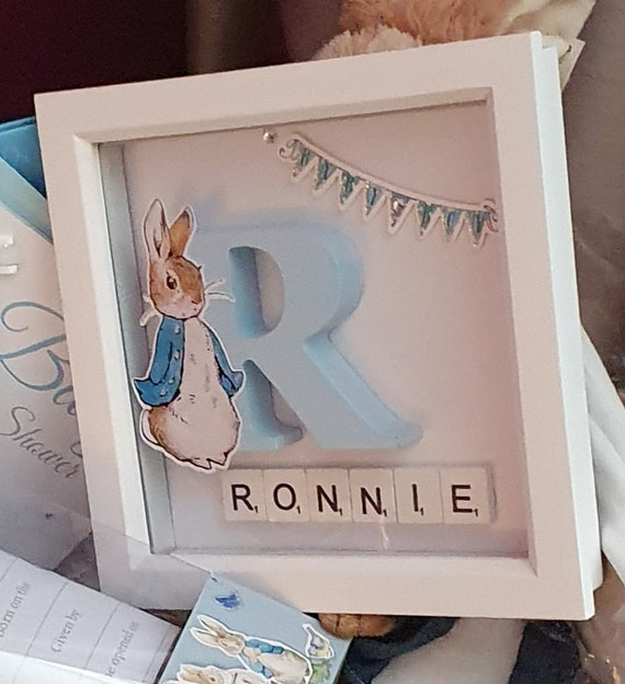 Baby Shower Rabbit Themed 3D Deep Picture Box Frame Boy or Girl New Baby Personalised Initial Gift (Qty 1)
