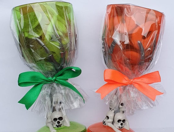 Halloween Party Plastic Wine Glass Goblet filled with Sweets Favours Party Prizes (QTY 1)