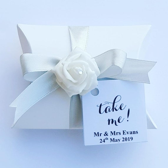 Pillow Box Favours Weddings Baby Showers Party  Personalised Tag Take Me Keepsake